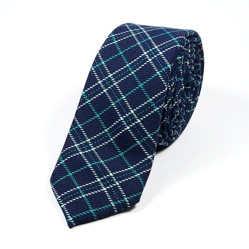 Preppy Wool Tie (green/white over navy blue)