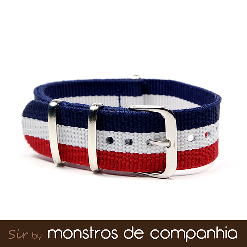 Navy Blue, White and Red Striped NATO Watch Band