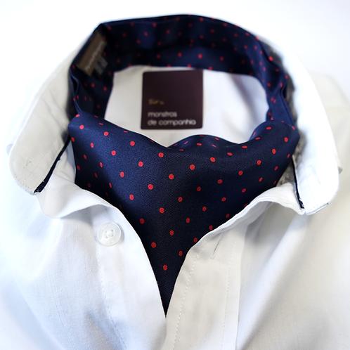 Polka Dot Silk Ascot (red over navy blue)
