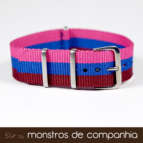 Pink, Blue and Burgundy Striped NATO Watch Band