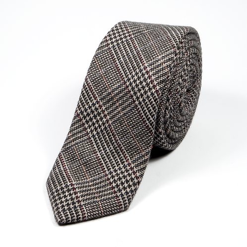 Glen Plaid Wool Tie (brown)