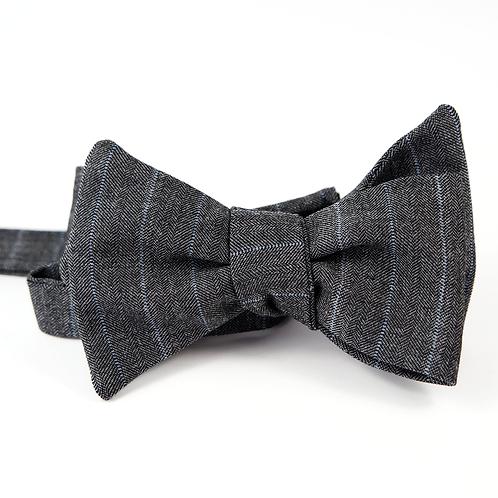 Chalk-Stripe Bowtie (light blue over grey)