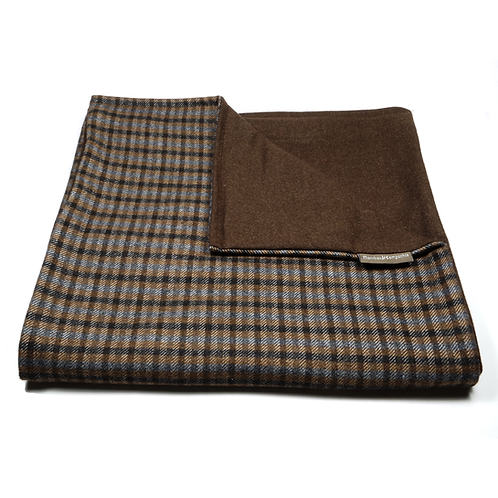 Checkered and Plain Soft Wool Reversible Scarf (brown)