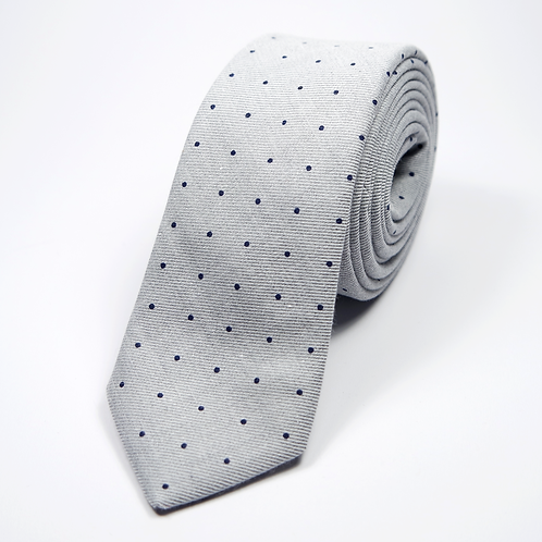 Polka Dot Tie (navy blue over light grey)