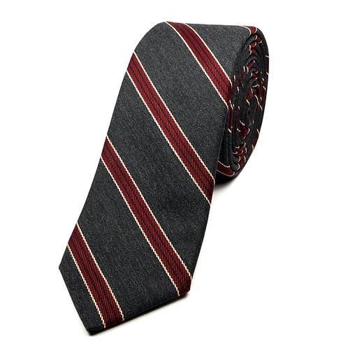 Old School Preppy Striped Tie (burgundy over dark grey)