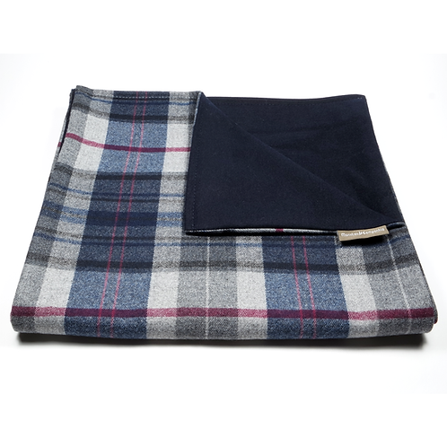 Glen Plaid and Plain Soft Wool Reversible Scarf (grey and blue/navy blue)