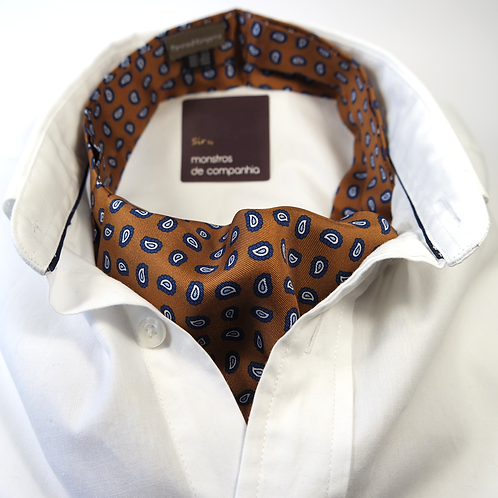 Paisley Silk Ascot (navy blue over brown)