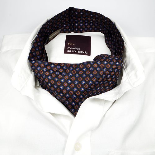 Geometric Silk Ascot (blue and brown over black)