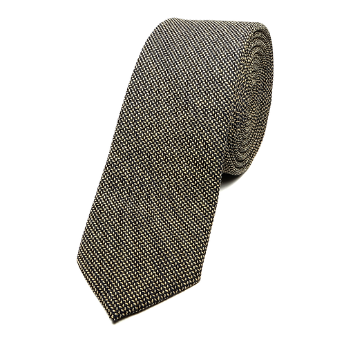 Fishbone Wool Tie (dark brown)
