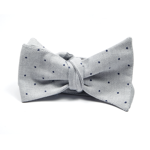 Polka Dot Bowtie (navy blue over light grey)
