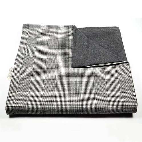 Glen Plaid and Plain Soft Wool Reversible Scarf (light grey/dark grey)