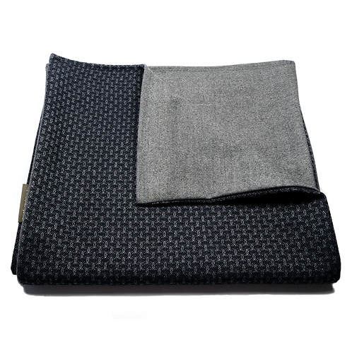 Geometric and Plain Soft Wool Reversible Scarf (navy blue/grey)