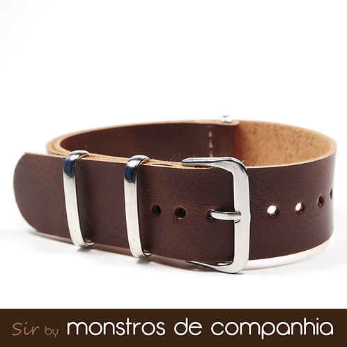 Dark Brown Synthetic Leather NATO Watch Band