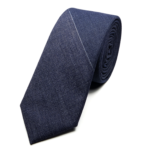 Large Stripes Wool Tie (navy blue)