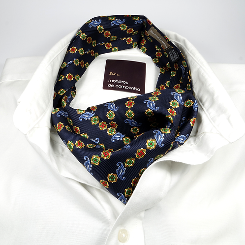 Floral Silk Ascot (colorful over navy blue)