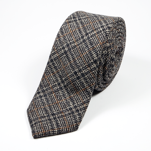 Houndstooth Wool Tie (grey/brown with some orange touches)