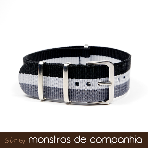 Black, White and Grey Striped NATO Watch Band