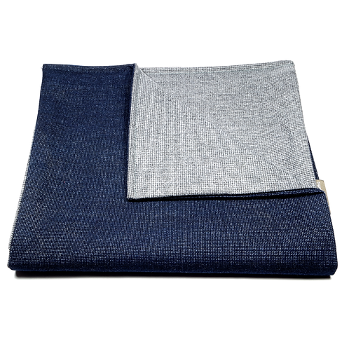 Houndstooth Soft Wool Reversible Scarf (navy blue/light grey)