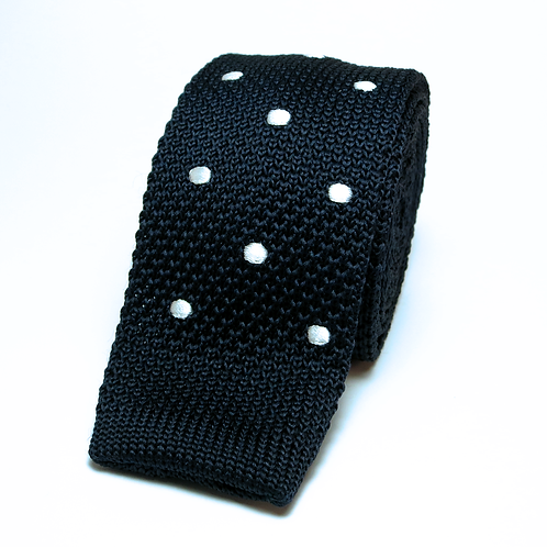 Polka Dot Navy Blue Knit Tie