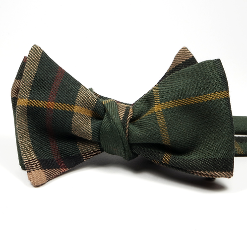 Glen Plaid Preppy Bowtie (green and gold)