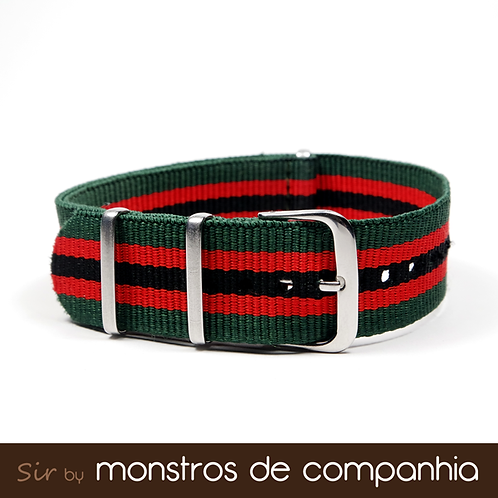 Green, Red and Black Striped NATO Watch Band