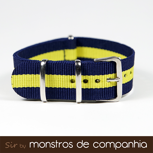 Navy Blue and Yellow Striped NATO Watch Band