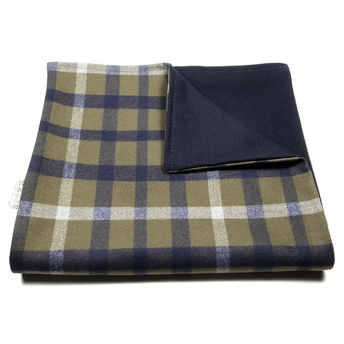 Glen Plaid and Plain Soft Wool Reversible Scarf (green and blue/navy blue)