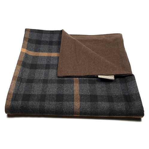 Glen Plaid and Plain Soft Wool Reversible Scarf (dark grey and orange/brown)