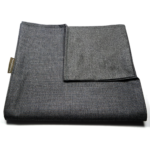 Bird's Eye and Plain Soft Wool Reversible Scarf (grey)