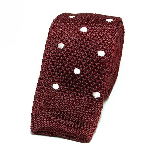 Polka Dot Burgundy Knit Tie