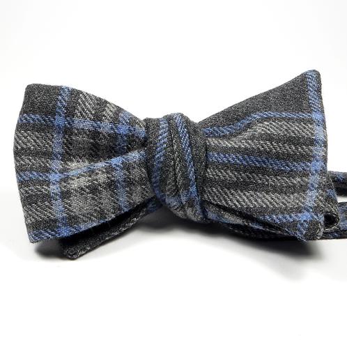 Glen Plaid Bowtie (grey and blue)