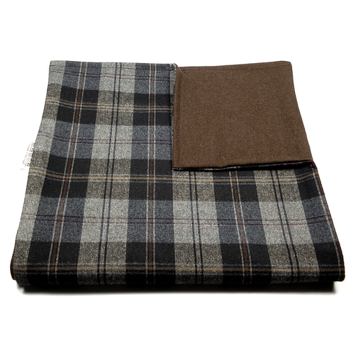 Glen Plaid and Plain Soft Wool Reversible Scarf (beige and orange/brown)