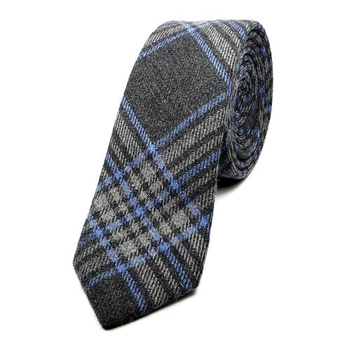 Glen Plaid Wool Tie (blue over dark grey)