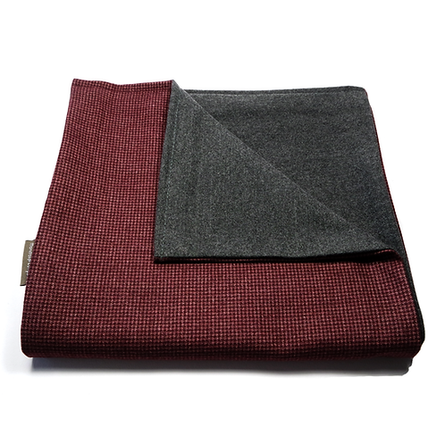 Houndstooth and Plain Reversible Scarf (burgundy/dark grey)