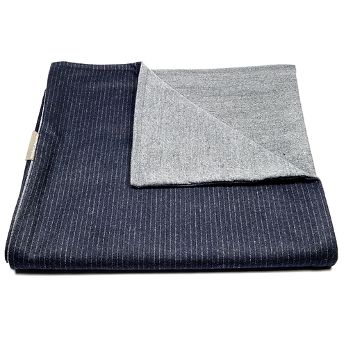 Pinstripe Worsted and Plain Soft Wool Reversible Scarf (navy blue/light grey)