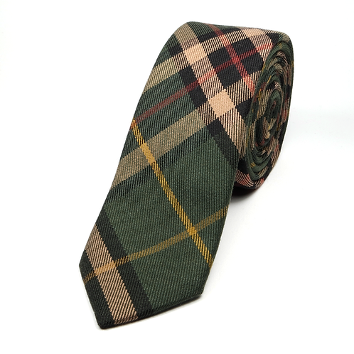Glen Plaid Preppy Tie (green and gold)