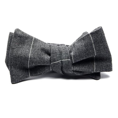 Chalk-Stripe Flannel Bowtie (dark grey)