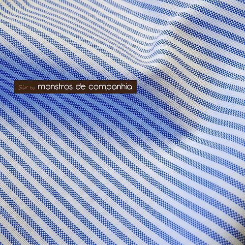 Striped White and Blue Oxford Cotton Handkerchief