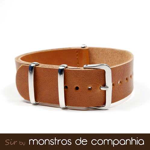 Tan Brown Synthetic Leather NATO Watch Band