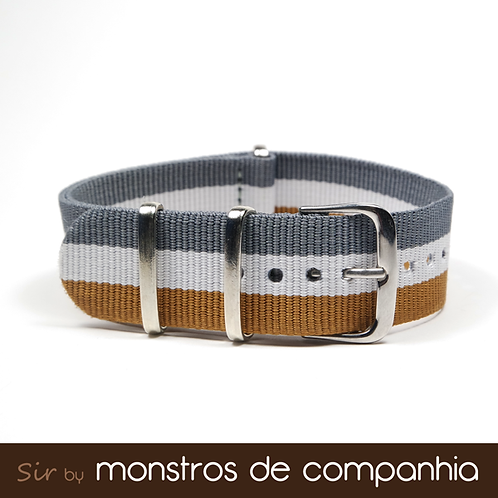 Grey, White and Beige Striped NATO Watch Band