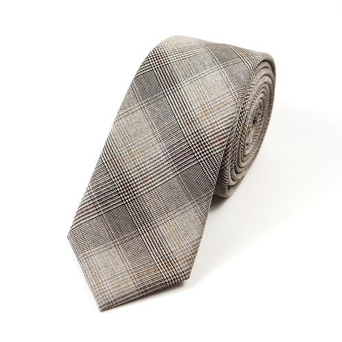 Sixties Glen Plaid Tie (brown and beige)