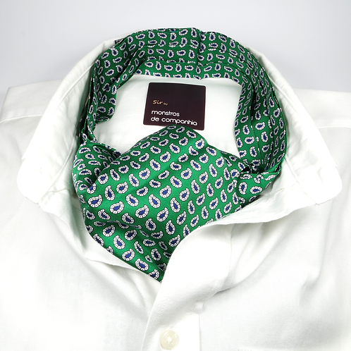 Paisley Silk Ascot (blue over green)
