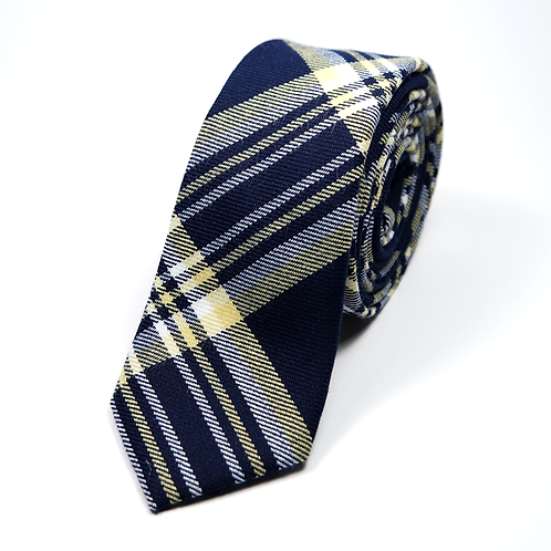 Preppy Wool Tie (yellow over navy blue)