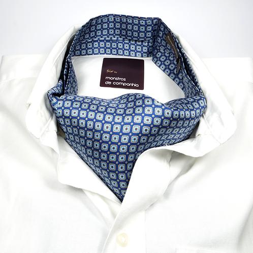 Geometric Silk Ascot (white and burgundy over blue)