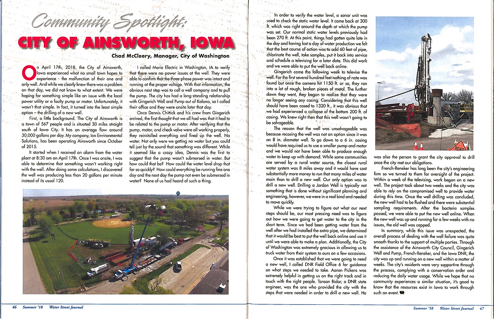 Water Street Journal Article - Ainsworth