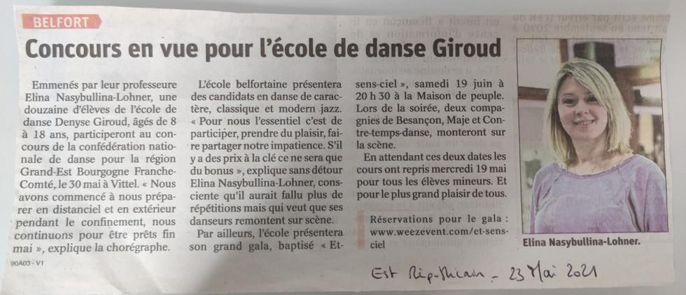 Concours en vue pour l'école de danse Giroud