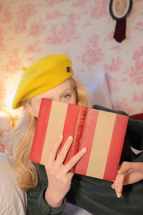 'la valse' wool beret in yellow