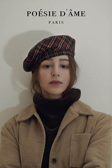 'Parfum d'hiver' check wool beret