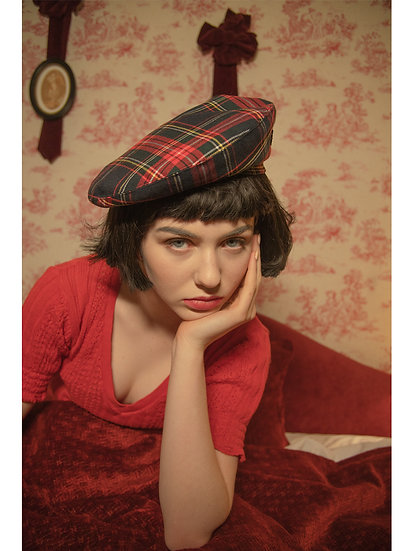 'La valse' check beret in red
