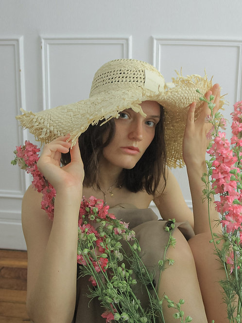 [Born to be loved] Wide raffia Capeline hat